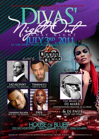 Diva S Night Out Hosted By Laz Alonso Lamman Rucker More House Of Blues Essence Festival Weekend 2011